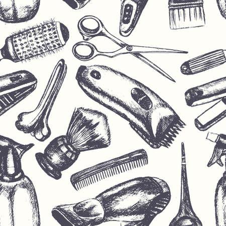 Equipo de peluquero - un vector de color dibujado a mano sin patrón. Tijera realista, peine, cepillo de dientes, secador de pelo, clipper, plancha para el cabello, teñido, cepillo de afeitar, clavija, pulverizador. Promociona tu salón Ilustración de vector