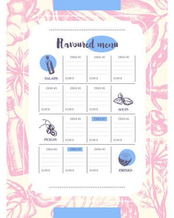 Geblikte producten - handgetekend sjabloon menu Stock Illustratie