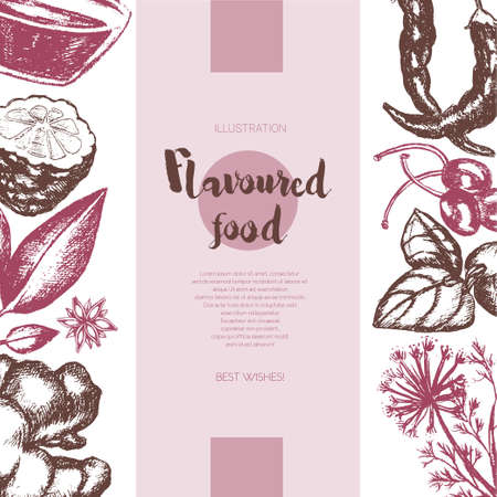 Flavoured Products - vector hand drawn banner. Çizim