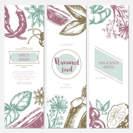 Productos con sabor - banner de plantilla dibujada a mano. Foto de archivo - 80305717