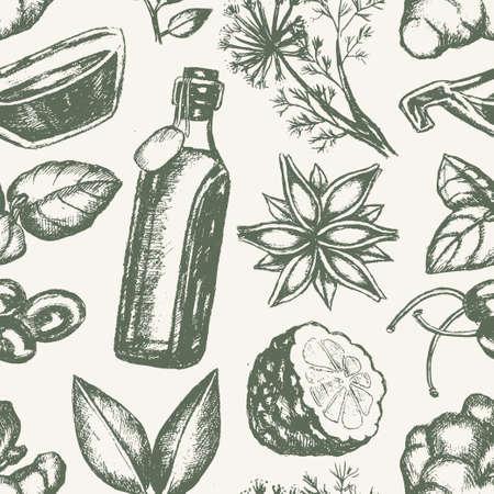 Gearomatiseerde producten - hand getrokken naadloze patroon Stock Illustratie