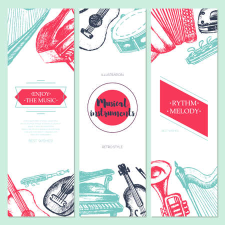 lute: Musical Instruments - color vector hand drawn template banner with copy space. Realistic violin, drum, flute, guitar, harp, trombone, accordion, piano, harmonica, lute. Display your store, band. Illustration