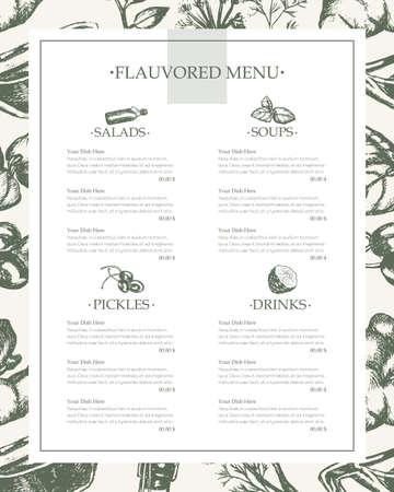맛된 제품 - 벡터 손으로 그린 된 빈티지 템플릿 메뉴 복사본 공간. 현실적인 회 향, 베이 리프, 스타 아니 스, 바 질, 생강 공장, 케이 퍼, kaffir 라임 일러스트