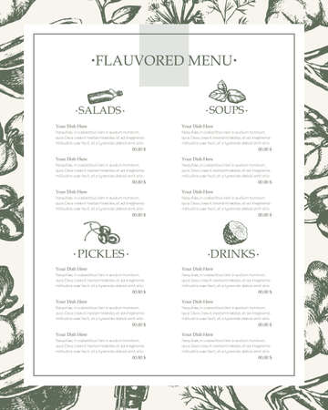 Flavoured Products - vector hand drawn vintage template menu with copy space. Realistic fennel, bay leaf, star anise, basil, ginger plant, capers, kaffir lime, soy sauce, sunflower oil, cayenne pepper. Imagens - 80269624