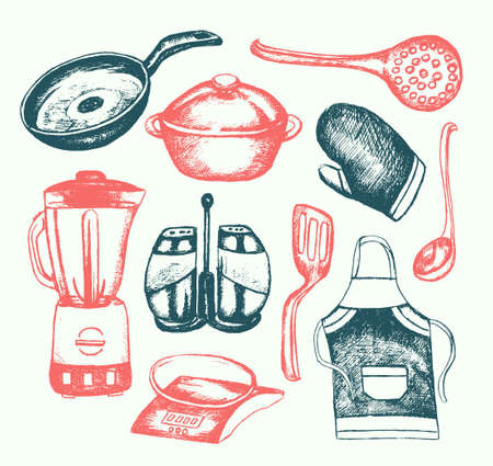 adverts: Kitchen Ware - illustration of color vector hand drawn vintage composition. Realistic frying pan, saucepan, pot, blender, ladle, apron, mitten, skimmer, straining spoon, salt, pepper shaker, scales illustration