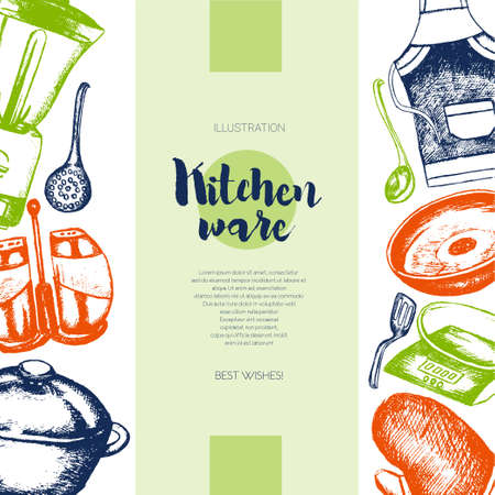 Kitchen Ware - color vector hand drawn vintage banner template with copy space. Realistic saucepan, blender, ladle, apron, mitten, skimmer spoon, salt, pepper shaker, scales. Represent your store. Illusztráció