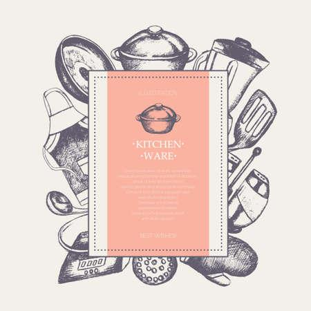 Kitchen Ware modern drawn square postcard template.