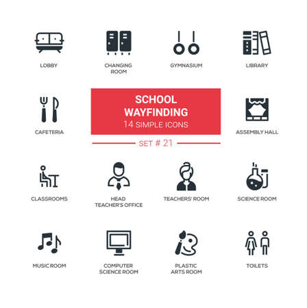 School wayfinding modern simple icons, pictograms set