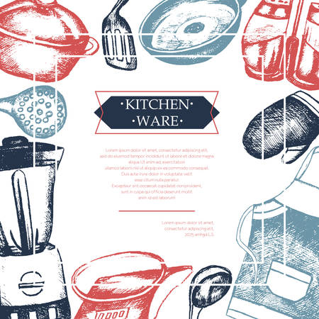 Kitchen Ware - color vector hand drawn vintage postcard template with copy space for your text.