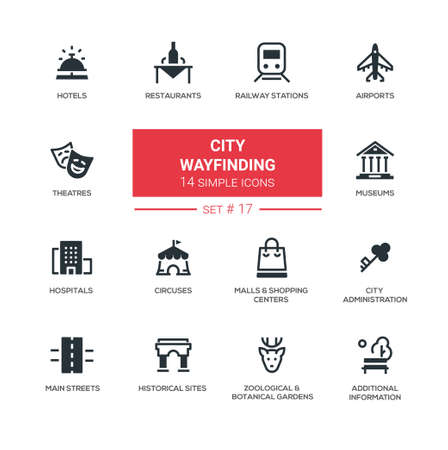 modern garden: City wayfinding - modern vector icons, pictograms set. Hotel, restaurant, museum, theater, historical site, airport, railway, hospital, circus, zoo, botanical garden, park, square, mall, main street