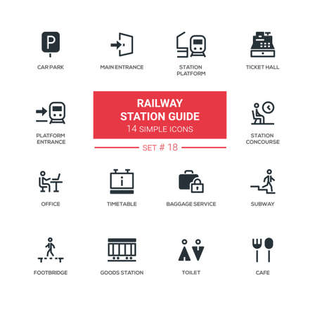 Railway station guide - modern simple icons, pictograms set Illustration