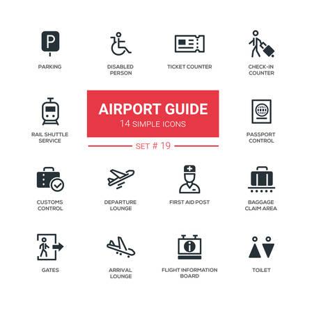 Guida all'aeroporto - icone semplici e semplici, set di pittogrammi Vettoriali