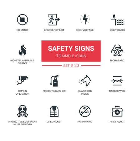 Veiligheidssignalen - moderne eenvoudige pictogrammen, pictogrammen instellen Stock Illustratie