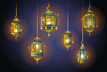 Ramadan Lights - realistic vector set of objects