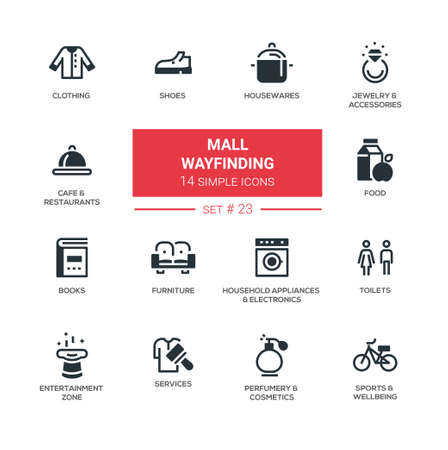 furniture: Mall wayfinding - modern simple icons, pictograms set