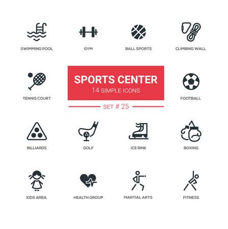 Sports center - modern simple icons, pictograms set Illustration