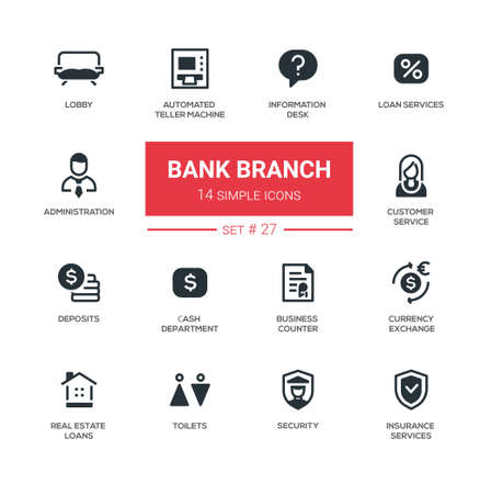 Bank branch - modern simple icons, pictograms set