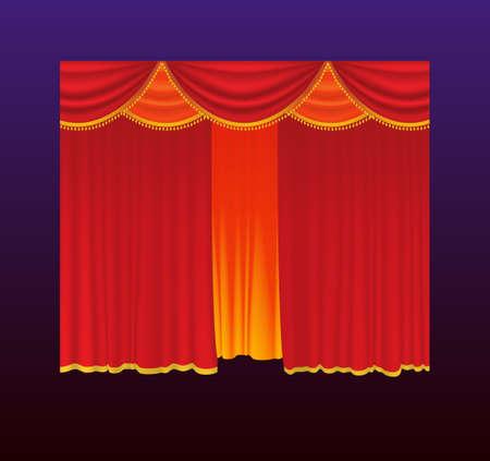 Gordijnen - realistische vector rode gordijnen gesloten. Gradient achtergrond. Hoge kwaliteit clip art voor presentaties, banners en flyers, bioscoop-, concert- en prijsuitreiking illustraties. Stock Illustratie
