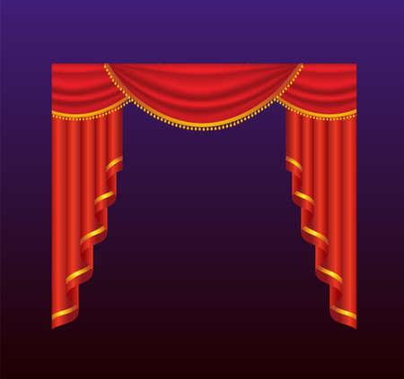 Gordijnen - realistische vector rode gordijnen illustratie Stock Illustratie