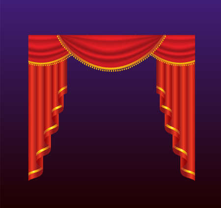Curtains - realistic vector red drapes illustration