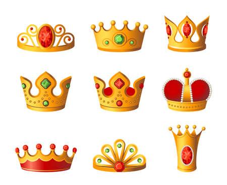 Kronen - realistische vectorreeks koninklijk hoofddeksel