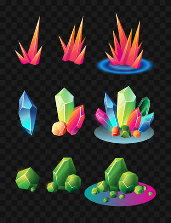 Crystals - realistic modern vector set of different minerals. Black background. Use this high quality clip art for presentations, banners and flyers. Blue, green and red prizes, tokens, chips Illustration