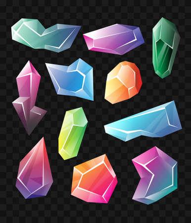 結晶鉱物別の形のリアルな現代ベクトルを設定します。黒の背景。この高品質のクリップアートを使用して、プレゼンテーション、バナーやチラシ