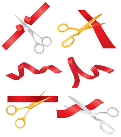 art show: Ribbon and Scissors - realistic modern vector set of decorative objects. White background. Use this quality clip art elements for your design. Open a show, concert, store.