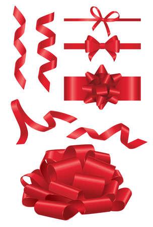 赤いリボン - 別の図形オブジェクトのリアルな現代ベクトル セット。白い背景。この品質クリップ アートの要素を使用して、あなたのデザインのた