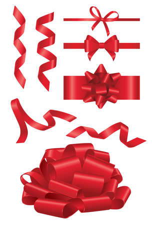 Red Ribbon- realistic modern vector set of different shape objects. White background. Use this quality clip art elements for your design, decorate a present.