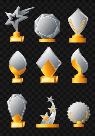 Awards - realistische moderne vectorreeks verschillende trofeeën. Zwarte achtergrond. Gebruik deze illustraties van hoge kwaliteit voor presentaties, banners en flyers om het team te stimuleren. Gouden en zilveren prijzen
