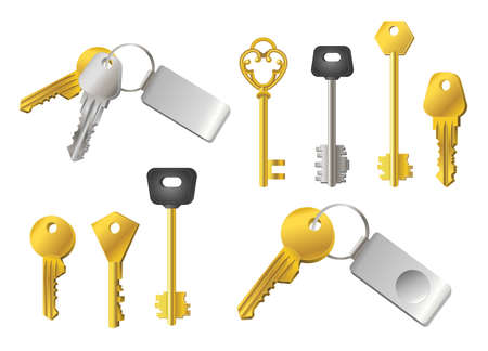 Keys - realistic modern vector set of different shape objects. White background. Use this quality clip art elements for your design. Silver and golden - with tags to unlock doors, locks. Illustration