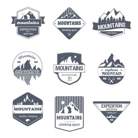 Klimmen Sport - Vintage vector set van logo's Stock Illustratie