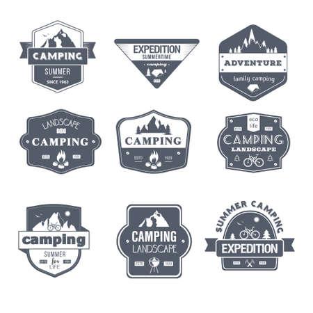 Activité de camping - ensemble vecteur vintage de logos Banque d'images - 80786321