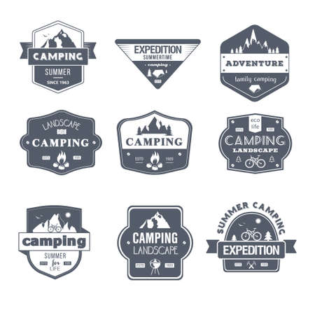 Camping Activity - vintage vector set of logos Illustration