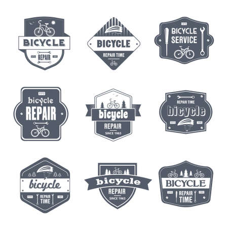 Bicycle Repair - vintage vector set of logos Çizim