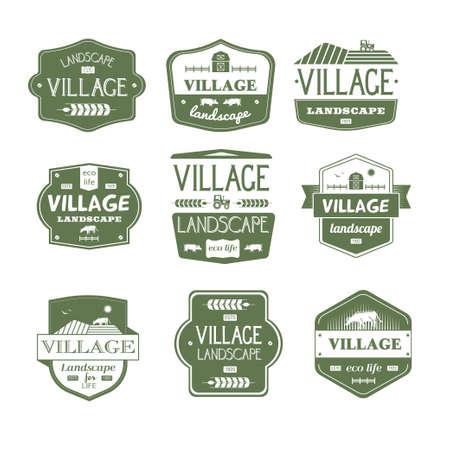 Village Life - vintage vector set of logos