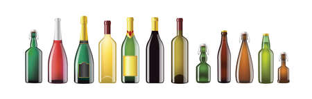 Alcohol Bottles - realistic vector set of objects Çizim