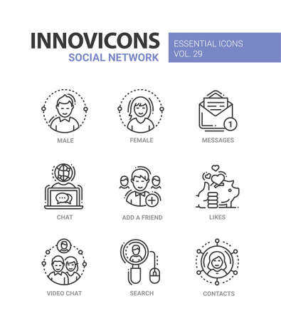 Social Network - modern vector line icons set