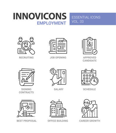 Employment - modern color vector single line icons set. Recruiting, job opening, approved candidate, signing contract, salary, schedule, best proposal, office building, career growth, credit card