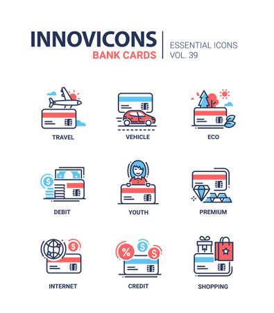 Bank Cards - modern vector line design icons set. Ilustração