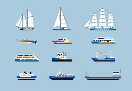 Water Transport - modern vector flat design icons set