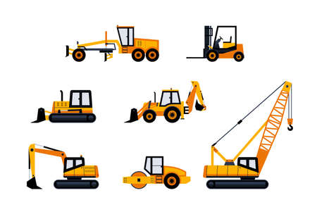 Construction Vehicles - modern vector icon set Illustration