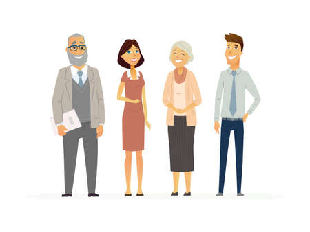 Business People - modern vector flat composition. Illustration