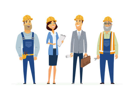 Construction Workers - modern flat composition. Illustration
