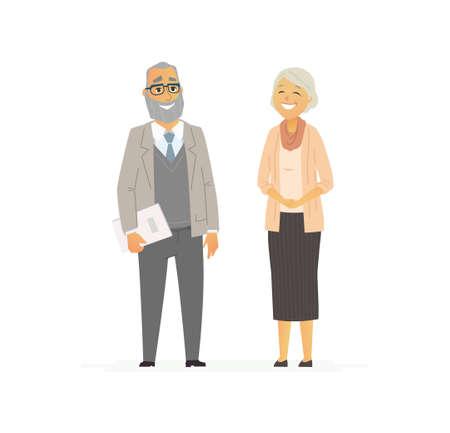 シニア ビジネスのカップル - ベクトルの平面的構成。