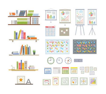 Office Essentials - modern vector flat icons set Ilustração
