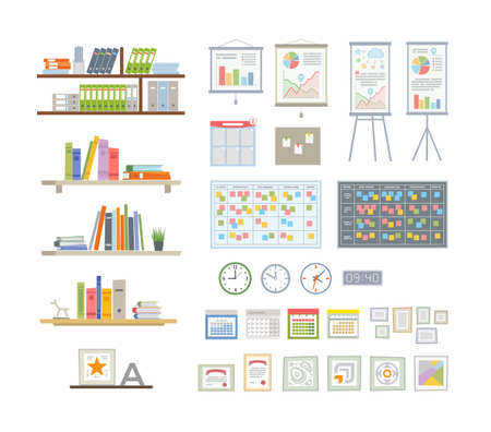 Office Essentials - modern vector flat icons set Illustration