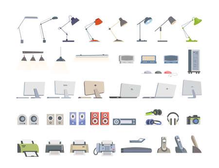 Office Essentials - modern vector flat icons set Illustration