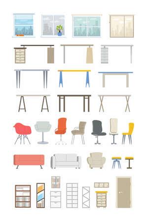 Office Essentials - moderne vector plat pictogrammen instellen Stock Illustratie